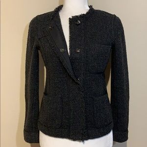 Vince Dark Grey Wool Blend Tweed Snap Front Blazer